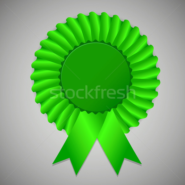 Green award ribbon rosette on gray background Stock photo © punsayaporn