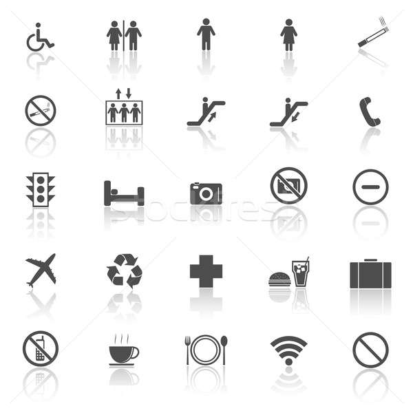 Plublic icons with reflect on white background Stock photo © punsayaporn