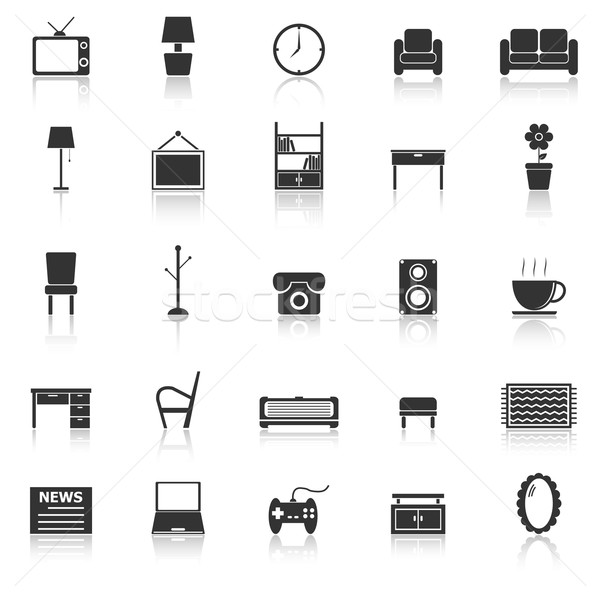 Living room icons with reflect on white background Stock photo © punsayaporn