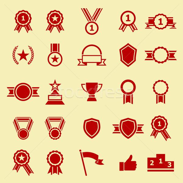 Award color icons on yellow background Stock photo © punsayaporn