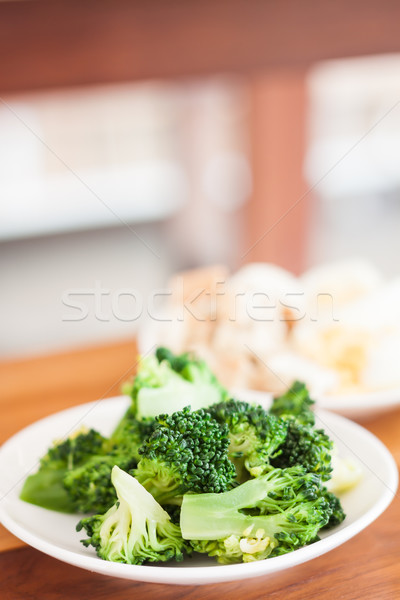 Fresh hydroponic vegetables on wooden table Stock photo © punsayaporn