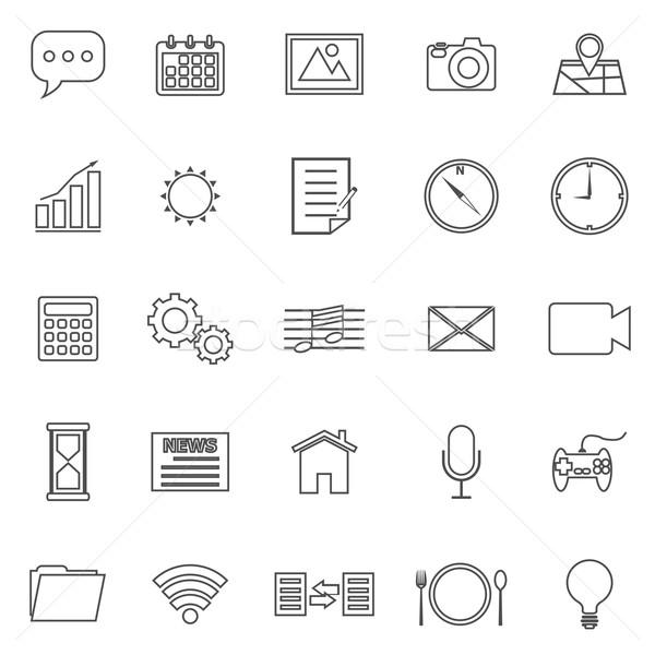 Stock fotó: Alkalmazás · vonal · ikonok · fehér · stock · vektor