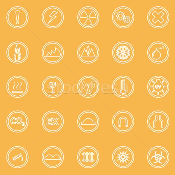 Warning sign line icons on yellow background Stock photo © punsayaporn