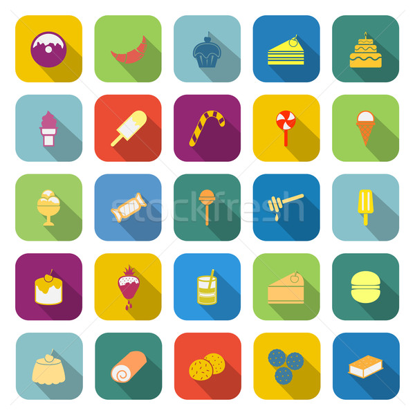 Dessert color icons with long shadow Stock photo © punsayaporn