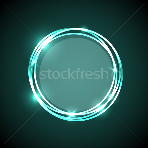 Abstract groene neon cirkels banner voorraad Stockfoto © punsayaporn