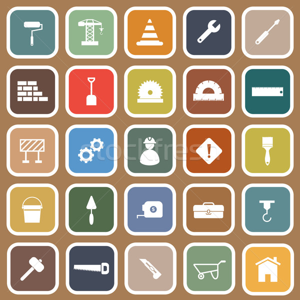 Construction flat icons on brown background Stock photo © punsayaporn