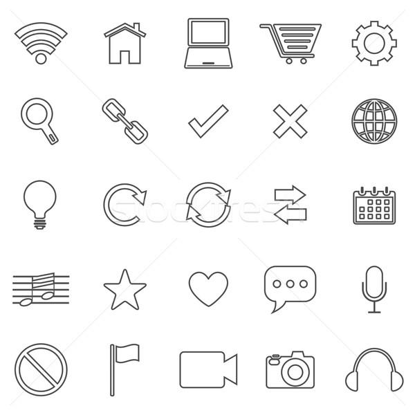 Web line icons on white background Stock photo © punsayaporn
