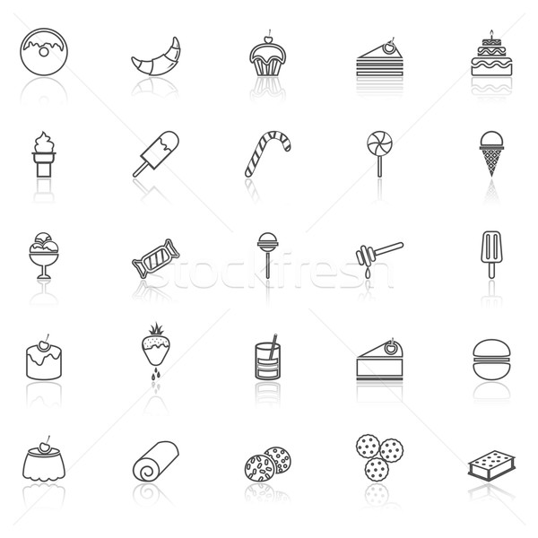 Dessert line icons with reflect on white Stock photo © punsayaporn