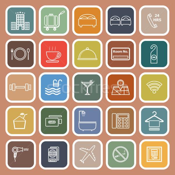 Hotel lijn iconen oranje voorraad vector Stockfoto © punsayaporn