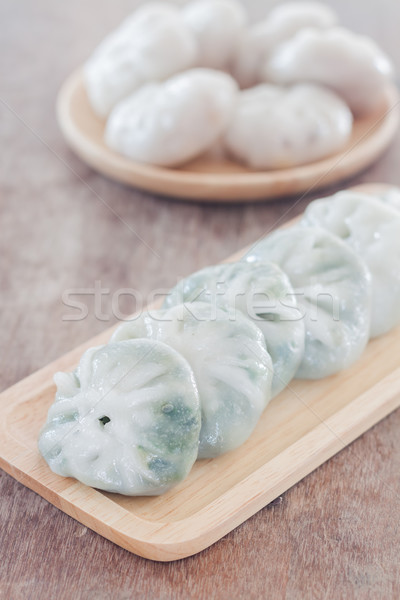 Chinese leek steamed dessert on wooden table Stock photo © punsayaporn