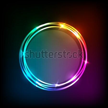 Abstract neon cirkels voorraad vector mode Stockfoto © punsayaporn