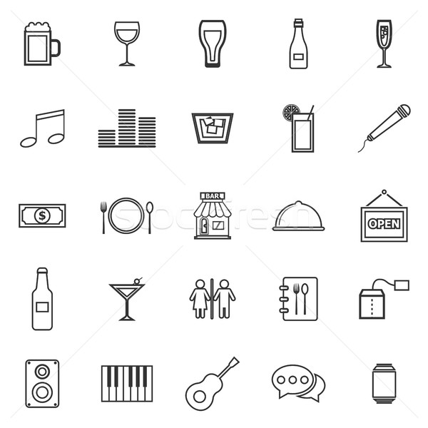 Bar line icons on white background Stock photo © punsayaporn