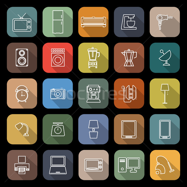 Household line flat icons with long shadow Stock photo © punsayaporn