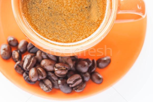 Café expreso tiro grano de café aislado blanco alimentos Foto stock © punsayaporn
