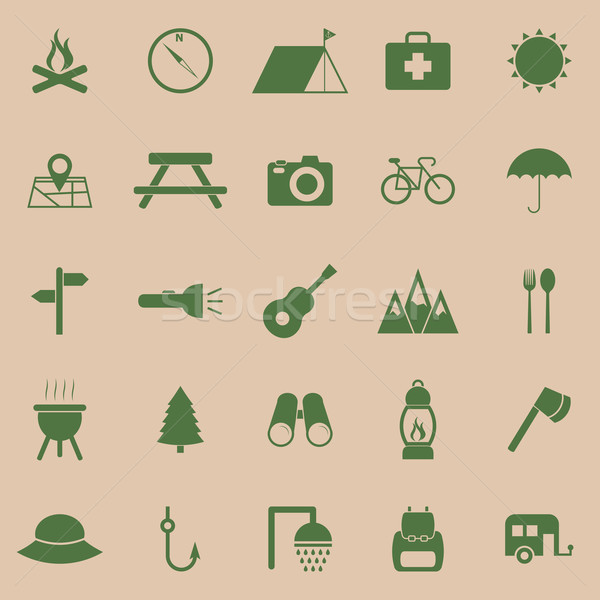 Camping color icons on brown background Stock photo © punsayaporn