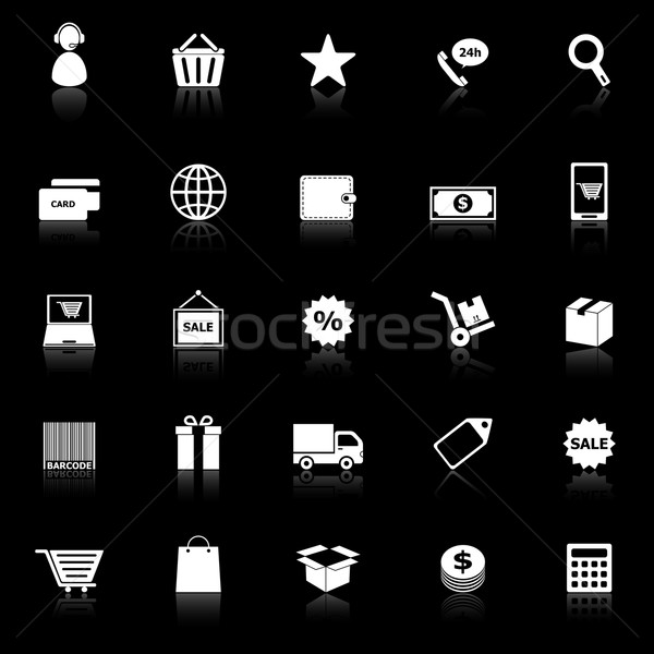 E-commerce icons with reflect on black background Stock photo © punsayaporn