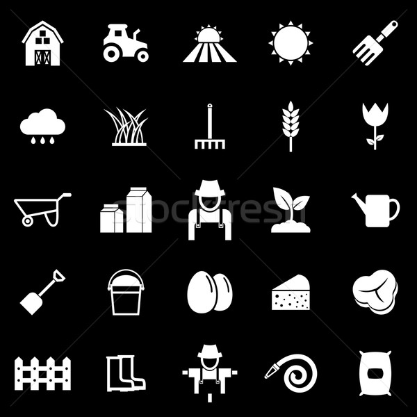 Farming icons on black background Stock photo © punsayaporn