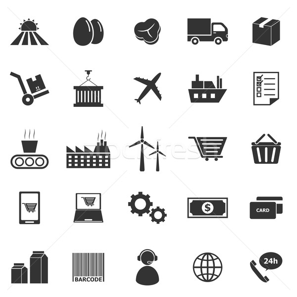 Supply chain icons on white background Stock photo © punsayaporn