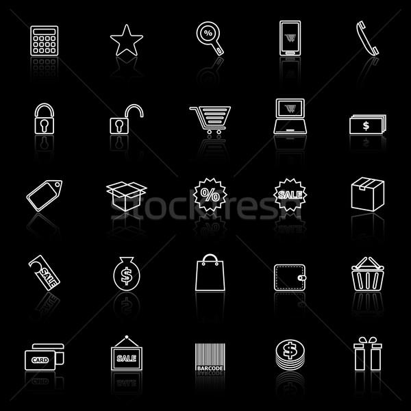 Shopping line icons with reflect on black background Stock photo © punsayaporn