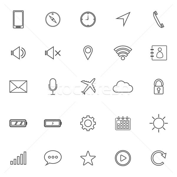 Mobile phone line icons on white background Stock photo © punsayaporn