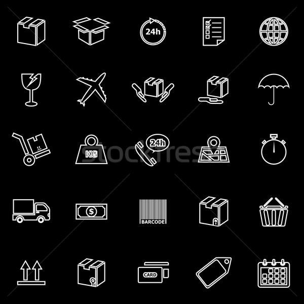 Shipping line icons on black background Stock photo © punsayaporn