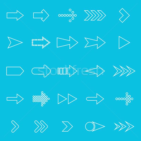 Arrow line icons on blue background Stock photo © punsayaporn