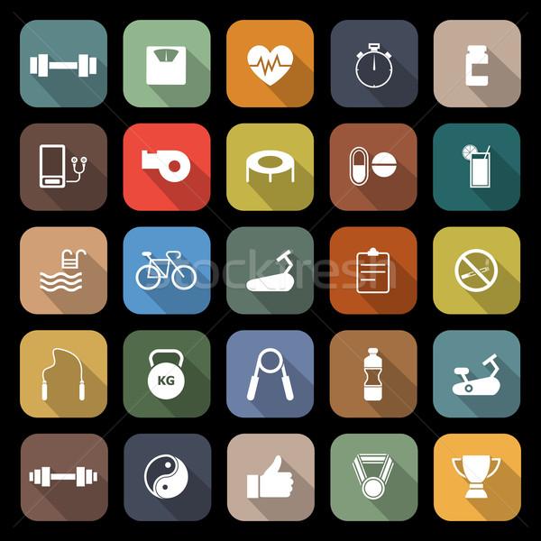 Fitness iconen lang schaduw voorraad vector Stockfoto © punsayaporn