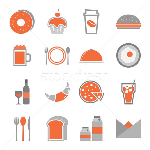 Food orange icons set on white background Stock photo © punsayaporn