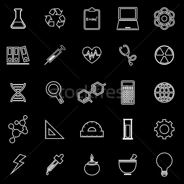 Science line icons on black background Stock photo © punsayaporn