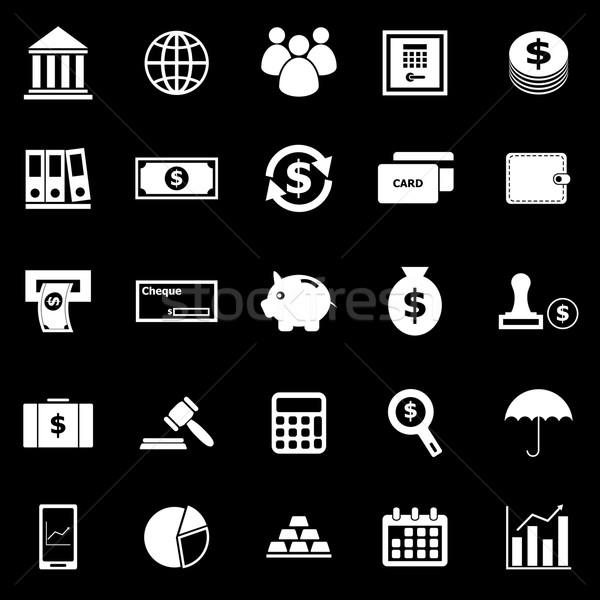 Banking icons on black background Stock photo © punsayaporn