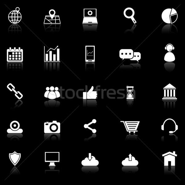 SEO icons with reflect on black background Stock photo © punsayaporn
