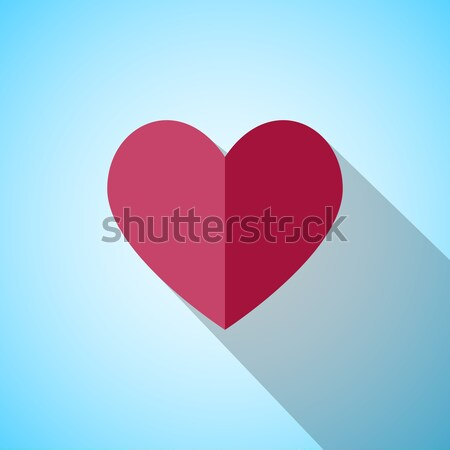 Stock photo: Red heart with long shadow