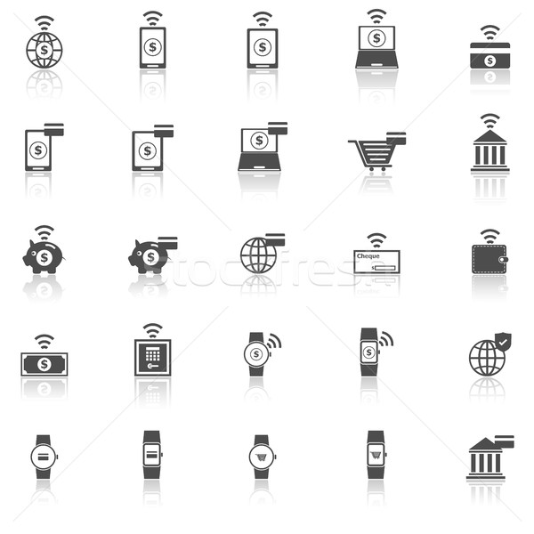 Fintech icons with reflect on white background Stock photo © punsayaporn