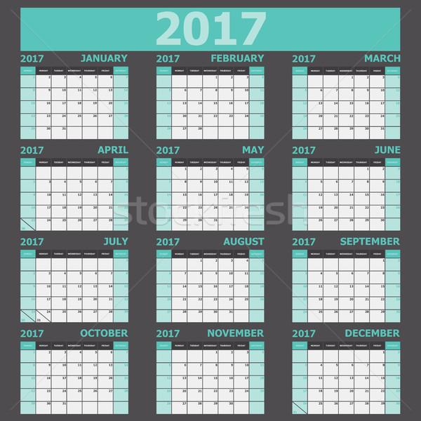 ストックフォト: カレンダー · 緑 · 在庫 · ベクトル · オフィス