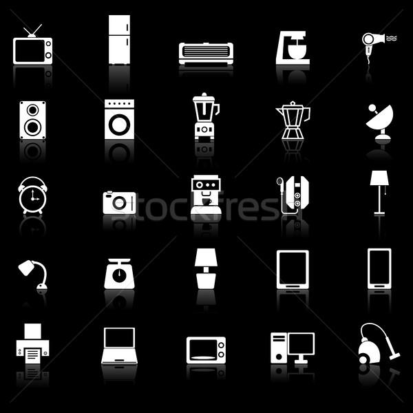 Household icons with reflect on black background Stock photo © punsayaporn