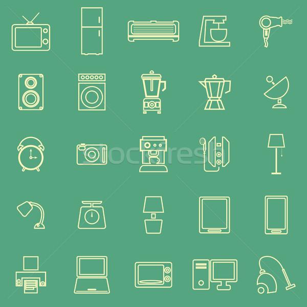 домашнее хозяйство линия цвета иконки зеленый складе Сток-фото © punsayaporn