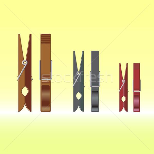 Metal colour clothes pin set on gradient background Stock photo © punsayaporn