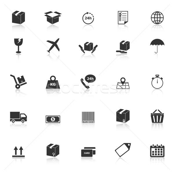 Scheepvaart iconen witte voorraad vector ontwerp Stockfoto © punsayaporn