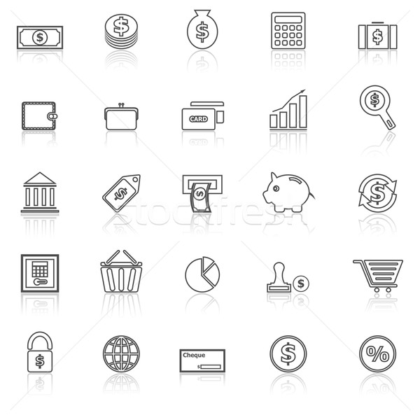 Money line icons with reflect on white Stock photo © punsayaporn