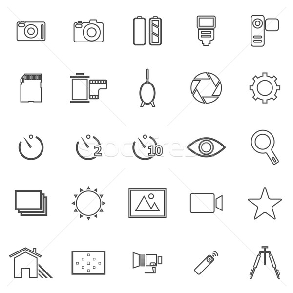 Camera line icons on white background Stock photo © punsayaporn