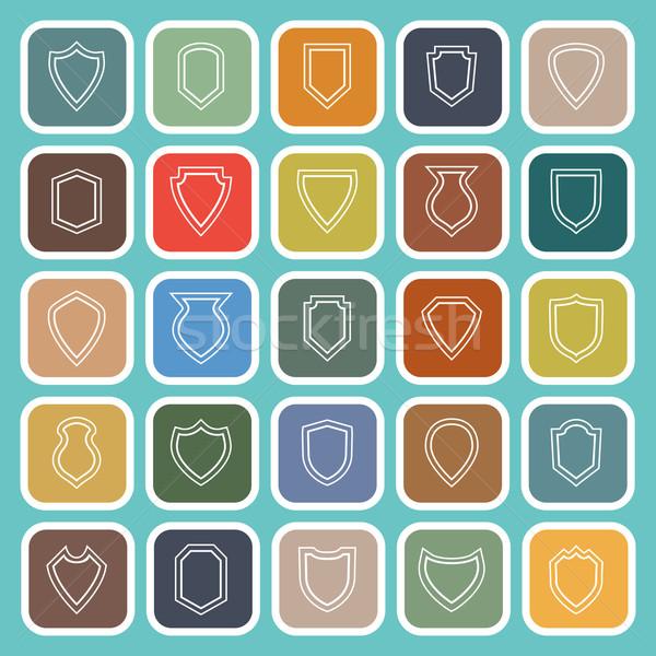 Shield line flat icons on blue background Stock photo © punsayaporn