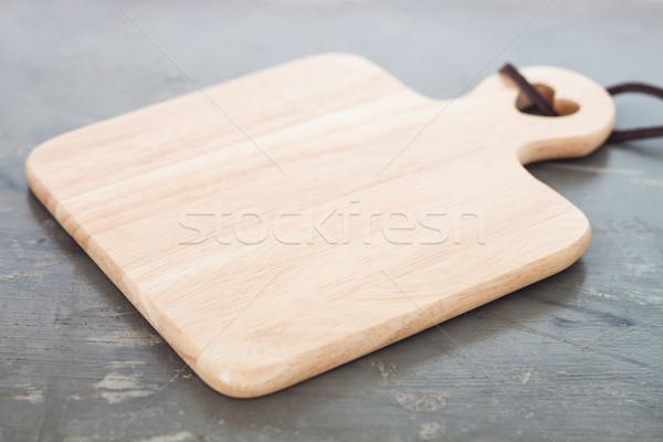 Houten plaat grijs voorraad foto voedsel Stockfoto © punsayaporn
