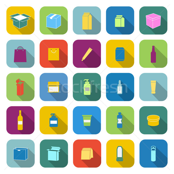 Packaging color icons with long shadow Stock photo © punsayaporn