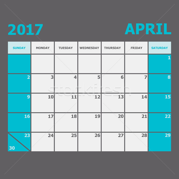 April 2017 calendar week starts on Sunday Stock photo © punsayaporn
