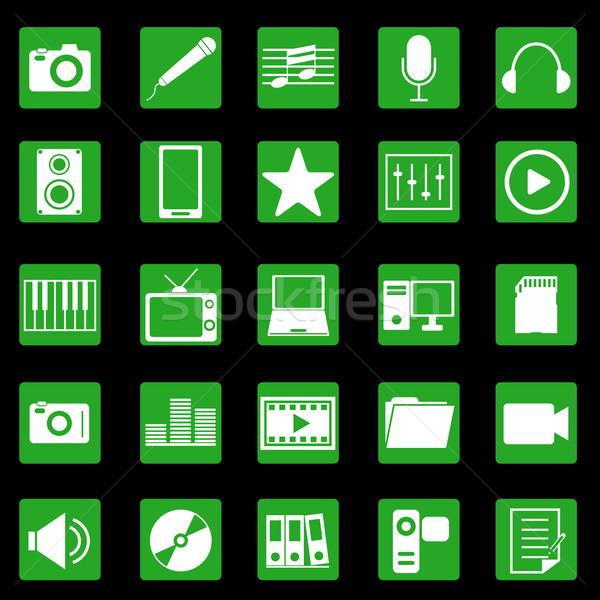 СМИ иконки зеленый кнопки складе вектора Сток-фото © punsayaporn