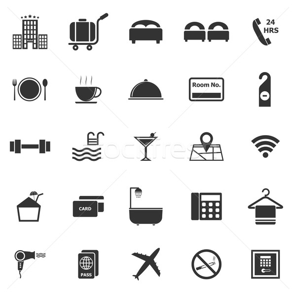 Hotel icons on white background Stock photo © punsayaporn