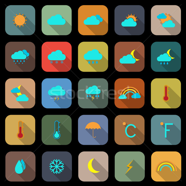 Weather flat color icons with long shadow Stock photo © punsayaporn
