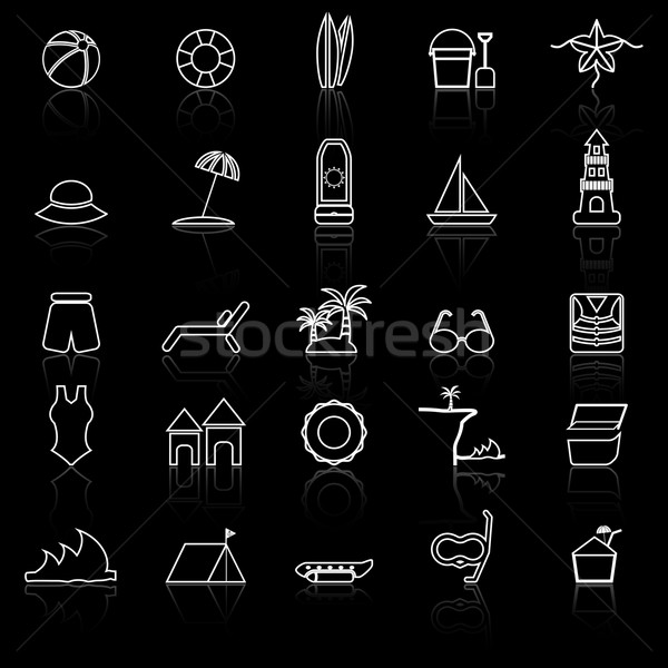 Beach line icons with reflect on black background Stock photo © punsayaporn