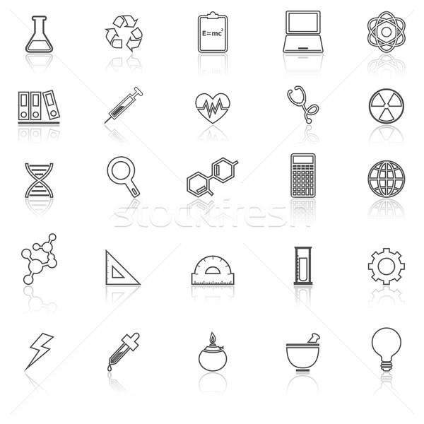 Wetenschap lijn iconen witte voorraad vector Stockfoto © punsayaporn