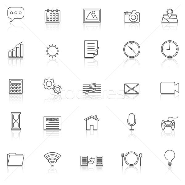 Application line icons with reflect on white Stock photo © punsayaporn
